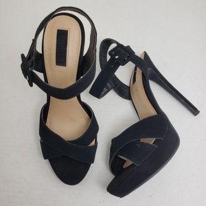 Forever 21 Black Suede Slingback Open Toe Heels